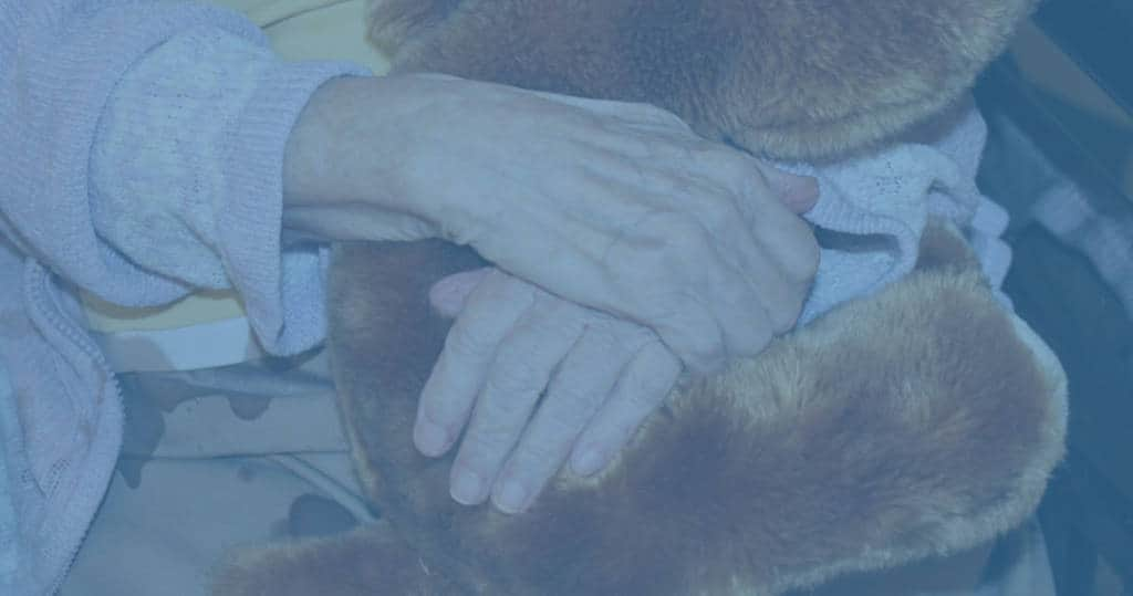 Close-up photo of arms wrapped around a teddy bear