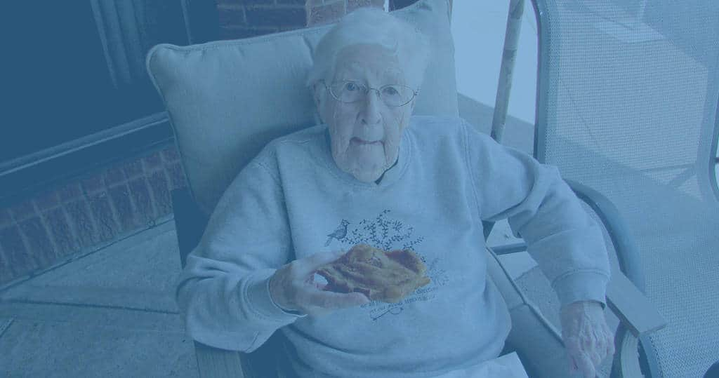 Photo of elderly woman in lounge chair